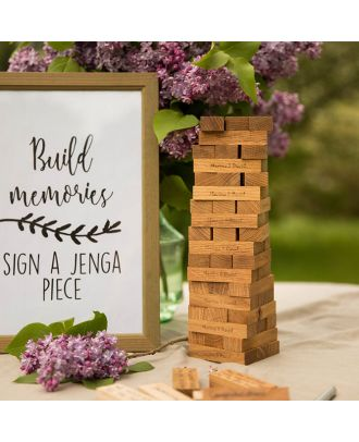 Custom made engraved Oak wood blocks wedding game