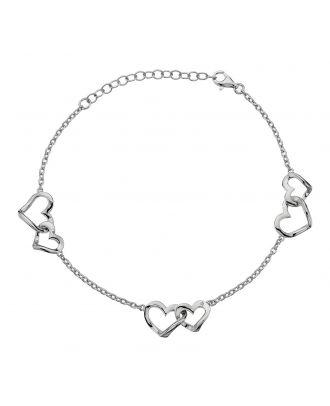Accents by Hot Diamonds Sterling Silver Open Hearts Bracelet