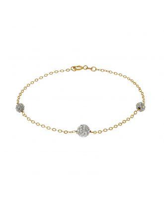 Gold Crystal Ball Bracelet