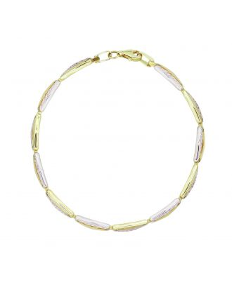 Yellow and White Gold Diamond Cut Bracelet