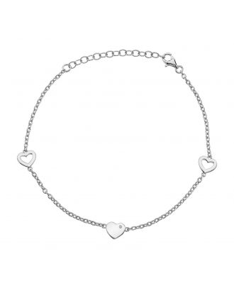Accents Silver 3 Station Heart Bracelet