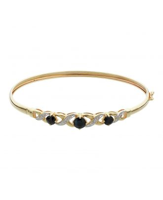 Gold Sapphire and Diamond Accent Flexible Bangle
