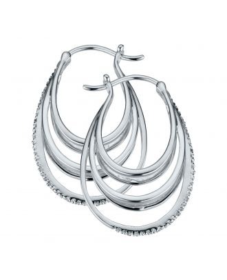 Sterling Silver Diamond Accent Creole Earrings