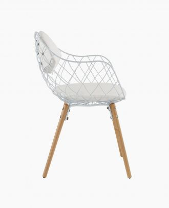 White Dining Metal Armchair