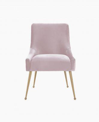 Pink Plush Velvet Side Chair