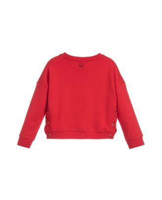 Girls Red Cotton Sweatshirt