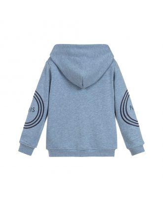 Blue Cotton Zip-Up Logo Top