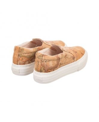 Beige Geo Map Canvas Trainers