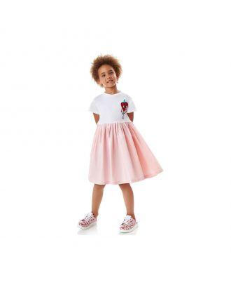 Girls Pink Cotton Logo Dress