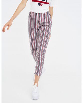 Striped high waist trousers
