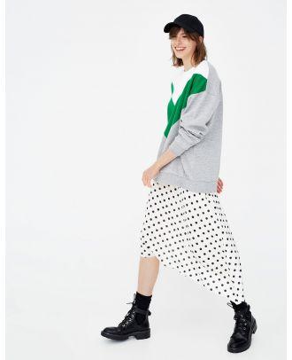 Polka dot asymmetric skirt