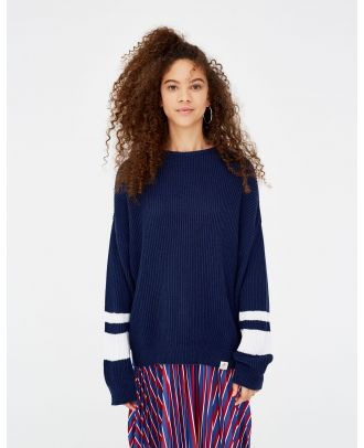 Sweater with colour blocks on the sleeves