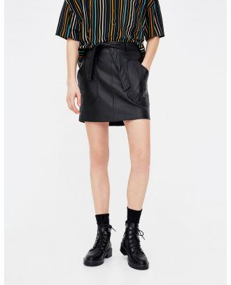 Faux leather skirt with tied belt
