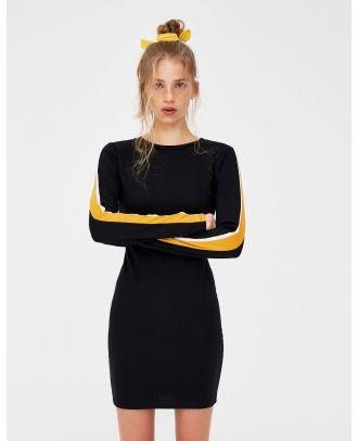 Dress with side stripes