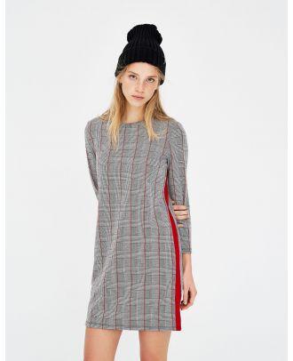 Checked long sleeve dress