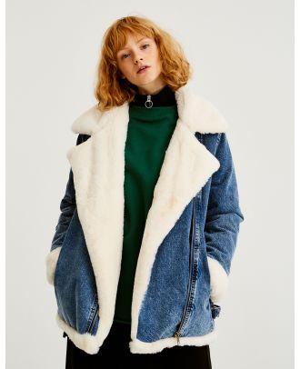 Denim biker jacket with faux shearling