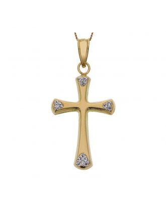 Gold Crystal Cross Pendant