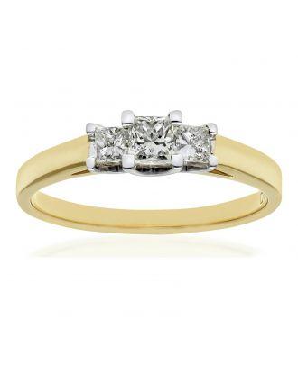 18ct Gold 0.50ct Diamond Princess Cut Ring